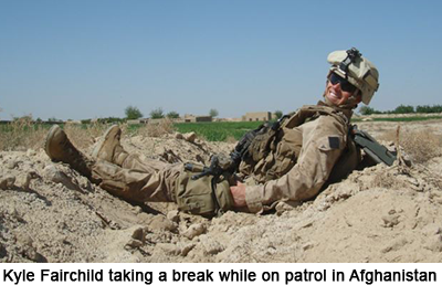 Kyle Fairchild taking a break while on patrol in Afghanistan